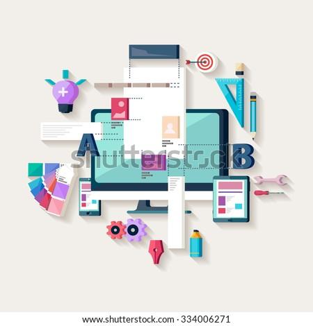 Web design,creating website. Flat design. - stock vector