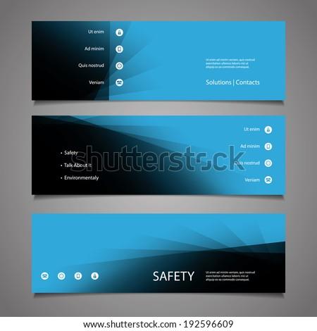 Web Design Elements - Abstract Blue Header Design - stock vector
