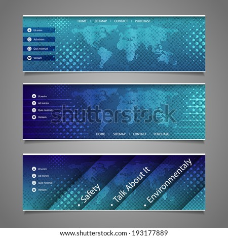 Web Design Elements - Abstract Header Design with Dotted Earth Map - stock vector