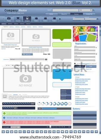 Web design elements blue 2. Vector - stock vector