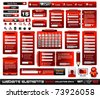 Web design elements extreme collection 2 BlackRed Inferno - Many different form styles, frames, bars, icons, banners, login forms, buttons and so on! - stock vector