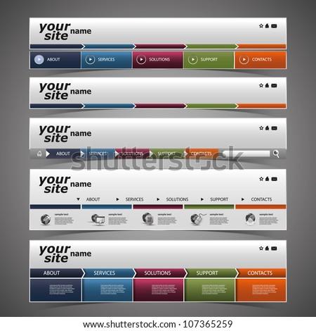 Web Design Elements - Header Design - stock vector