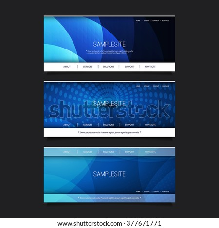 Web Design Elements - Header Design Set With Abstract Background - stock vector