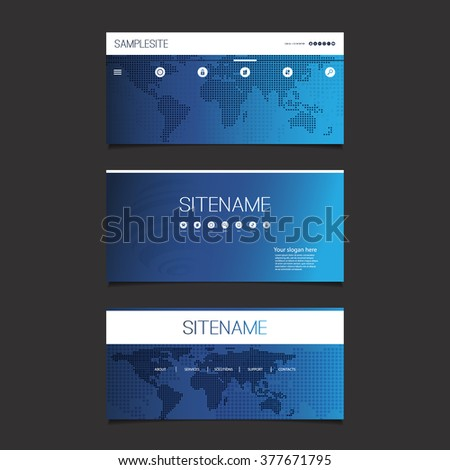 Web Design Elements - Header Design Set With Dotted World Map - stock vector