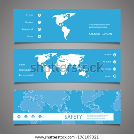 Web Design Elements - Header Design with Earth Map - stock vector