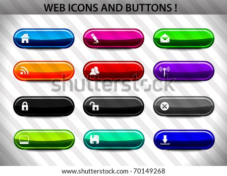 Web design elements icon collection (buttons, icons, headers, login) - editable illustration - stock vector