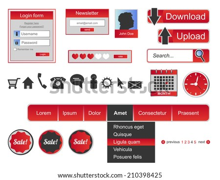 Web design elements - icons and buttons - stock vector