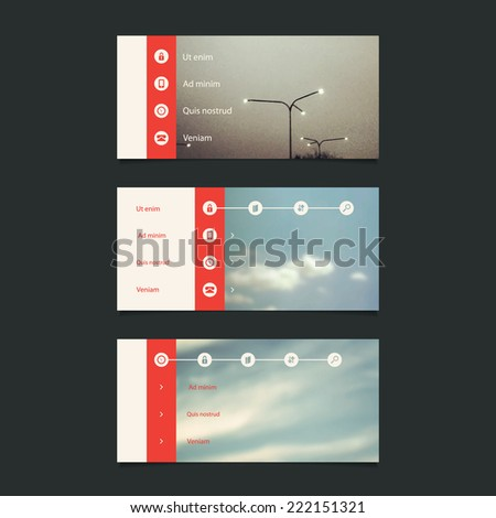 Web Design Elements: Minimal Header Design with Blurred Background and Icons - stock vector