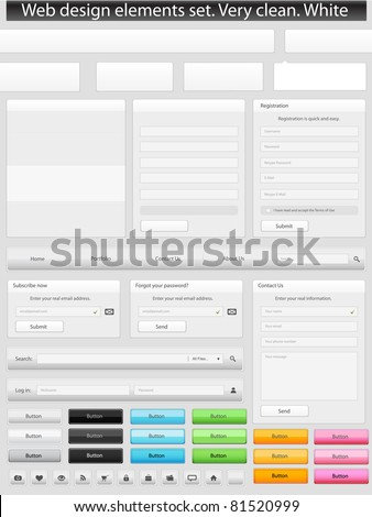 Web design elements set. Clean. White - stock vector