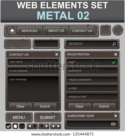 Web design elements set. Metal. Vector illustration