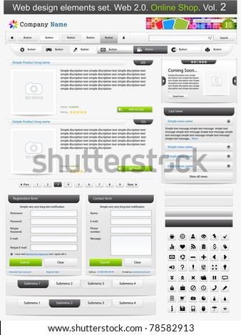 Web design elements set. Online shop 2. Vector illustration