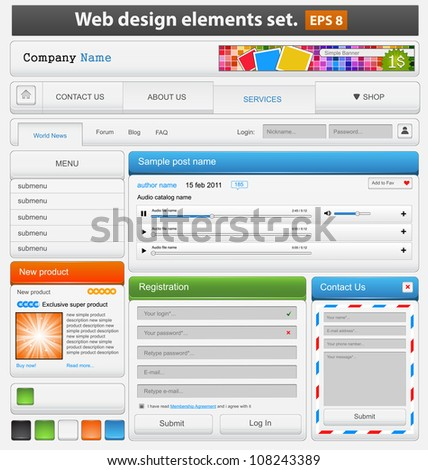 Web design elements set paper. Vector illustration