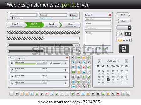 Web design elements set. Part 2. Silver. Vector illustration - stock vector