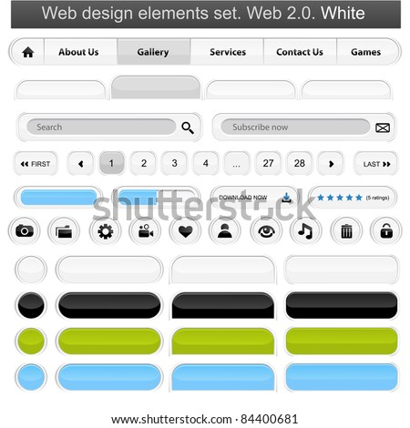 Web design elements set white. Vector illustration