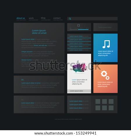 Web design, flat website elements template in dark color. - stock vector