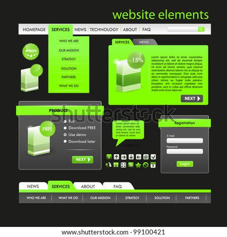 Web Design Frame Vector. Black and green set - stock vector