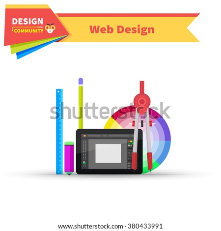 Web design graphic tablet and tool. Tablet graphic, pen graphic tablet, equipment digital drawing, device pencil, monitor tablet design, workspace and paint screen graphic tablet illustration