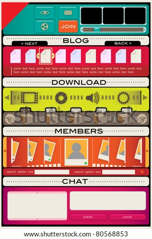 web design interface templates and controls and icons set - stock vector
