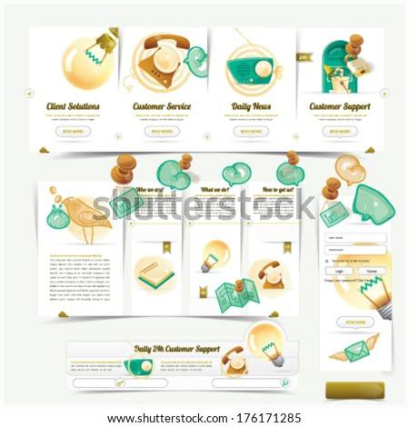 Web Design navigation elements pack with colorful icons set - stock vector