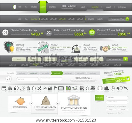 Web Design navigation elements  pack with icons set - stock vector