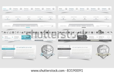 Web design navigation pack with icons set - stock vector