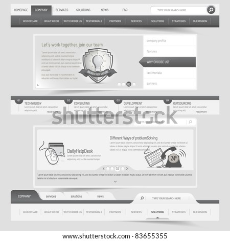 Web design navigation set - stock vector