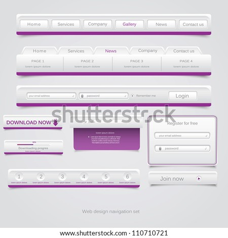 Web design navigation set Vector - stock vector