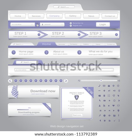 Web design navigation set. Vector - stock vector