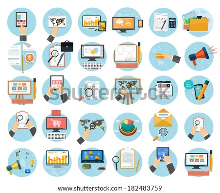Web design objects, business, office and marketing items icons. - stock vector