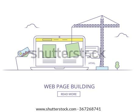 Web design process with monitor. Web Design illustration. Web Design thin line concept.  Graphic Web Design. Web design process. Web design, coding, programming process. Responsive Web Design - stock vector