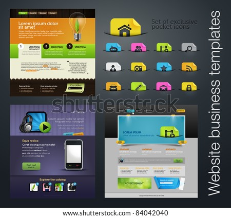 web design set +bonus icons - stock vector