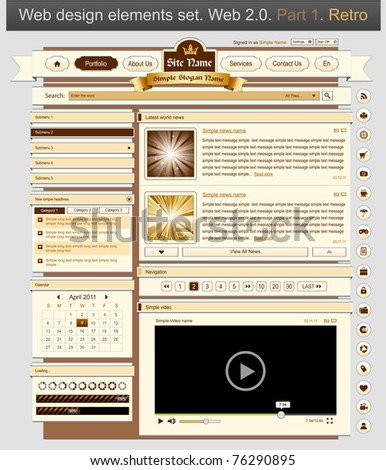 Web design set retro 1. Vector illustration - stock vector