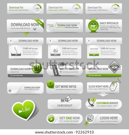 Web design template elements: Navigation buttons with ornament elements - stock vector