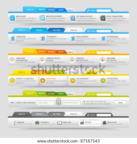 Web design template elements with icons set: Navigation  menu bars - stock vector