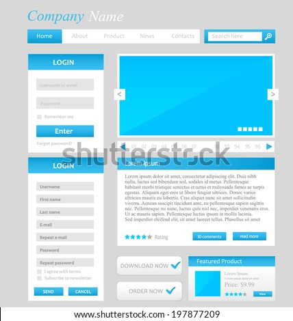 Web design template, UI elements blue, grey and white, register and login form, menu, download buttons, search area - stock vector
