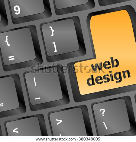 Web design text on a button keyboard vector illustration - stock vector