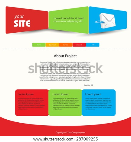 web design vector blue template easy editable - stock vector
