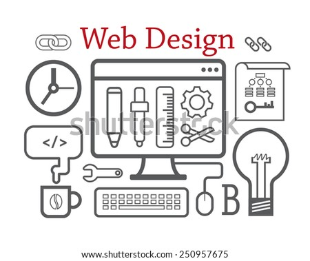 Web design. Vector illustration concept. Isolated on white - stock vector