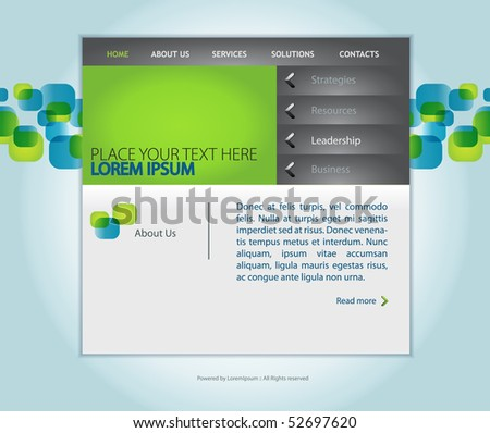 Stock vector web design vector template with sle text for small
