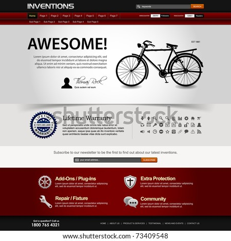 Web Design Website Elements Dark Template - stock vector