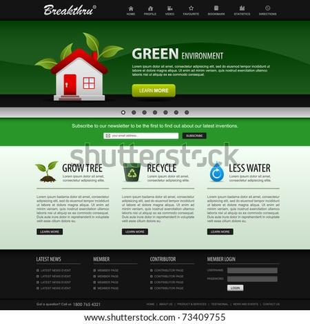 Web Design Website Elements Green Template - stock vector