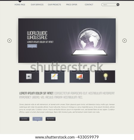 Web Design, Website Template,Web Elements. Vector.   - stock vector