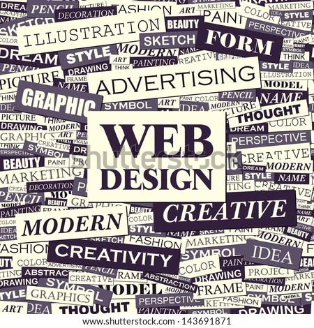 WEB DESIGN. Word cloud concept illustration.  - stock vector