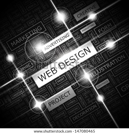 WEB DESIGN. Word cloud concept illustration. Graphic tag collection. Wordcloud collage with related tags and terms.  - stock vector