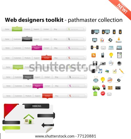 Web designers toolkit - pathmaster colllection - stock vector