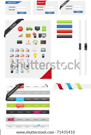 Web designers toolkit - web graphics - stock vector