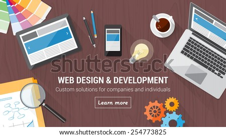 Web developer desk with computer, tablet and mobile, responsive web design and digital marketing concept - stock vector