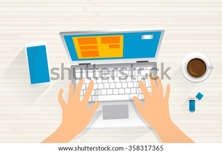 Web developer. Web developers desk, isolated objects. digital devices. 2d graphic, top view.  - stock vector