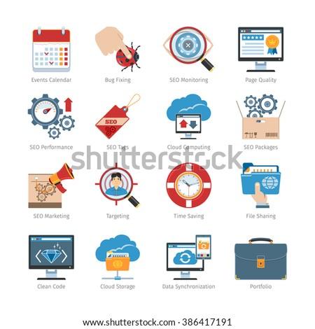 Web Development And SEO Flat Icons Set.Web Development And SEO Icons Vector set. Web Development And SEO Icons Picture set.Web Development And SEO Icons Image set.SEO Isolated Icons set. - stock vector