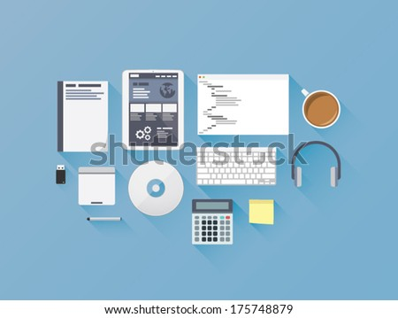 Web development coding flat icon set vector illustration  - stock vector
